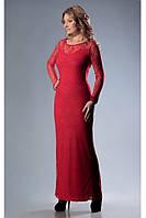 Красное платье в пол из гипюра