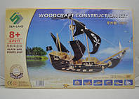 Деревянные 3D пазлы пиратский корабль (5 досок), объемный пазл конструктор для детей
