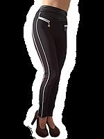 Брючные лосины модель №132 коричневые с кожаным