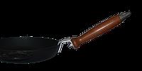 """Сковорода чугунная ТМ Термо,200*35 мм с декоративными литыми ручками """"Свинина"""" и со съемной деревянной ручкой"""