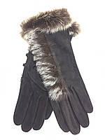 Перчатки женские замшевые шоколадные с мехом, фото 1