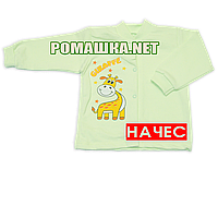 Детская кофточка р. 68 с начесом  демисезонная ткань ФУТЕР 100% хлопок ТМ Алекс 3222 Зеленый2