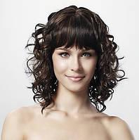 Парик из натуральных темных волнистых волос с челкой