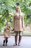 Набор пальто мама и дочка. Кашемировое пальто на двойной застежке.