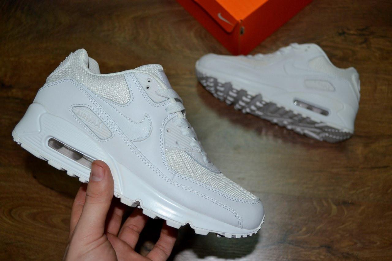 Женские кроссовки Nike Air Max 90 White (унисекс) (Реплика ААА+)