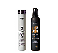 Мусс для волос с анти-желтым эффектом для блондинок MOVE-ME 45 +Шампунь для объёма с коллагеном Dikson Keiras