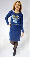 Джинсовое платье ( 3-нитка) с капюшоном принт Микки Маус