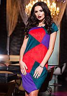 Стильное бирюзовое  батальное замшевое платье с цветными  вставками. Арт-9425/57