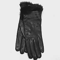 Перчатки женские кожаные коричневые с мехом