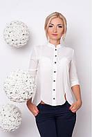 Тонкая женская полупрозрачная блузка из креп-шифона с удлинённой спинкой