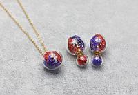 Набор Шар с цветами/серьги, подвеска,цепочка/бижутерия/цвет фиолетовый, красный