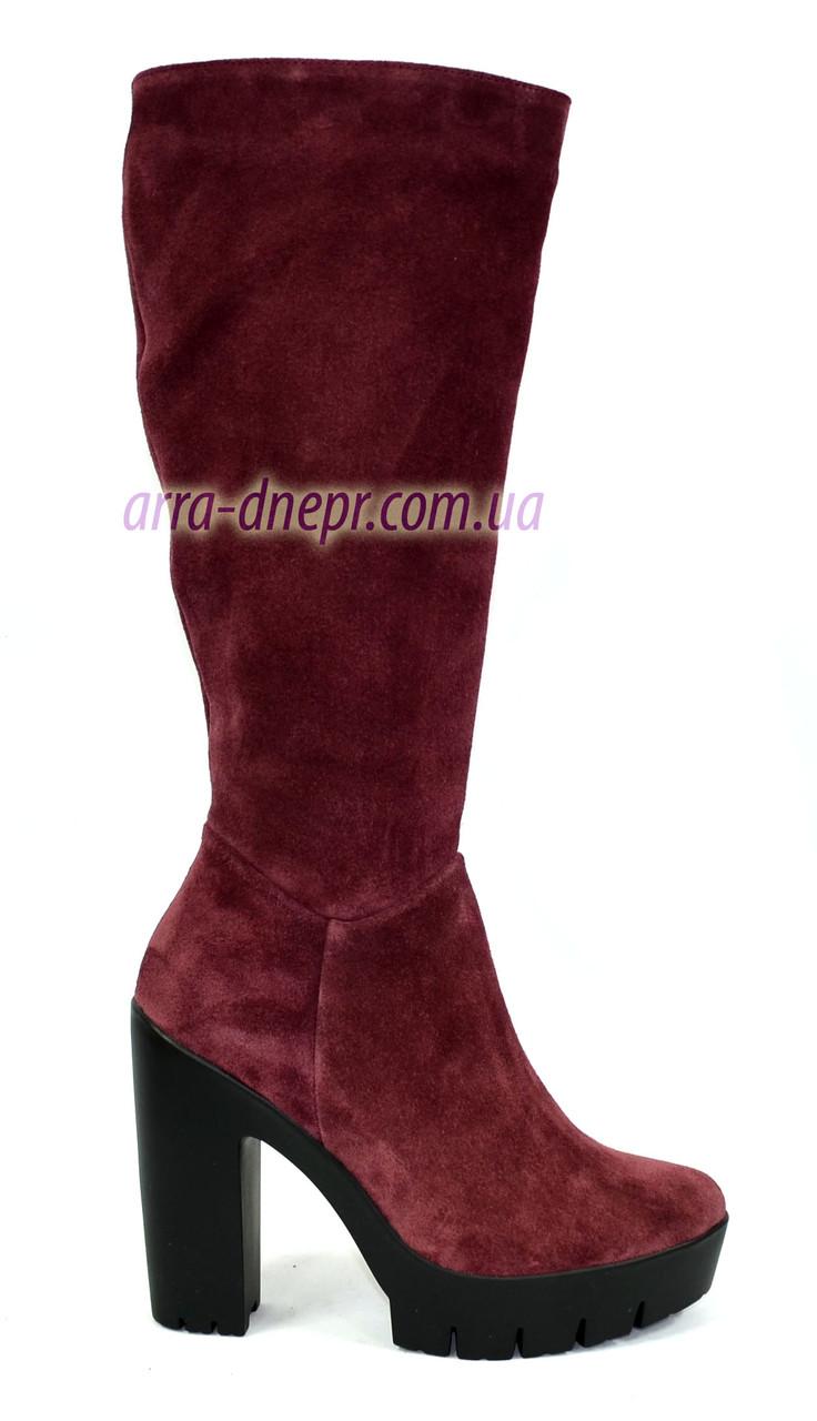 Стильные сапоги зимние на каблуке, бордовый замш