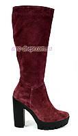 Стильные сапоги зимние на каблуке, бордовый замш, фото 1