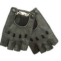Перчатки митенки женские кожаные Gucci черные без пальцев