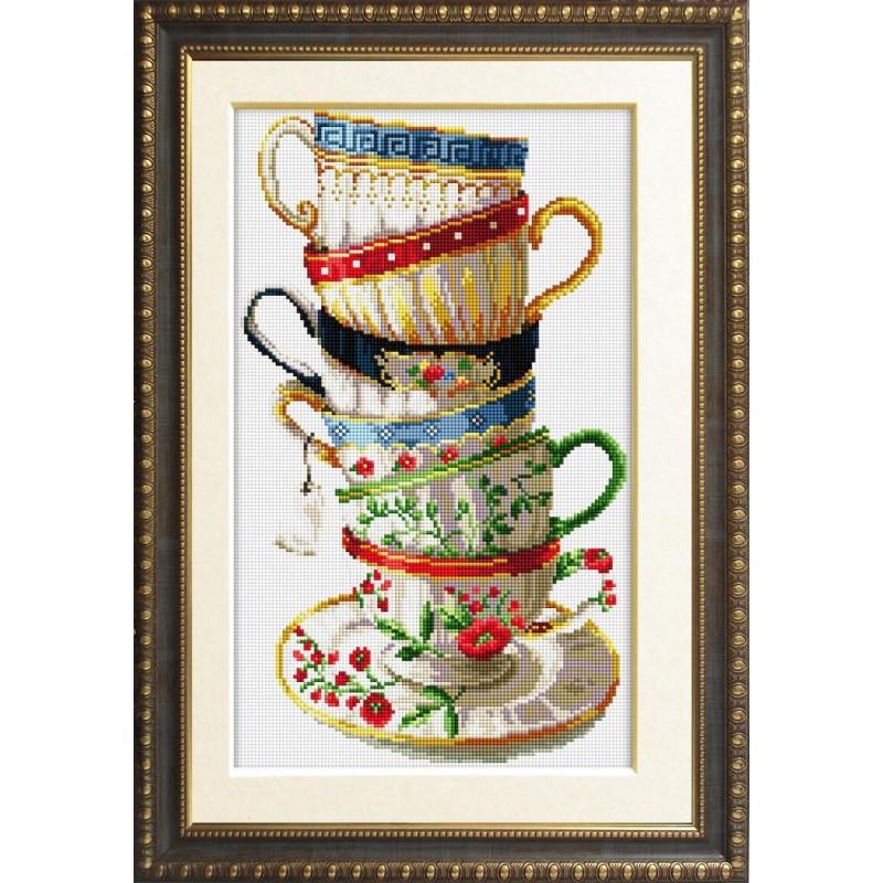 Алмазная живопись квадратными камнями «Набор кофейных чашек» Dream Art 30001 (28,5 х 47,5 см) на холсте