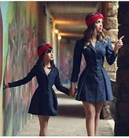 Набор пальто мама и дочка. Пальто кашемировое приталенное.парная одежда