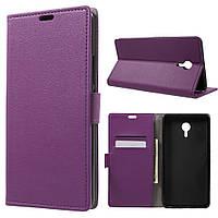 Чехол книжка для Meizu М3 Max боковой с отсеком для визиток, фиолетовый