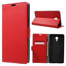 Чехол книжка для Meizu М3 Max боковой с отсеком для визиток, красный