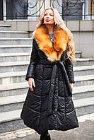 Зимнее длинное пальто приталенного силуэта с натуральным меховым воротником (мех лисы)