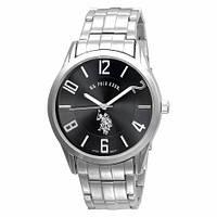 Мужские классические часы U.S. Polo Assn. USC80038 серебро с черным циферблатом ОРИГИНАЛ США