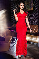 Длинное красное  гипюровое платье, батал. Арт-9429/57