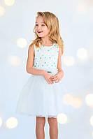 Платье нарядное для девочки белое с голубыми горошинами 4-6 лет размер 104-116