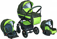 Детская коляска VERDI PEPE Eco Plus 3/1, 01 графит/салат горох