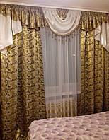 """Комплект штор с ламбрекеном """"Сандра Nеw"""", цвет хаки, фото 1"""