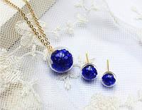 набор Шар с кристаллами/серьги, подвеска,цепочка/бижутерия/цвет синий