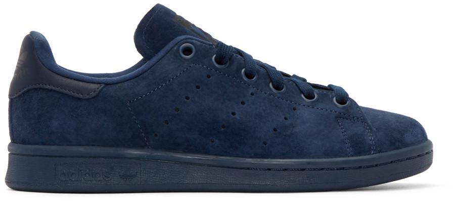 Мужские кроссовки Adidas Stan Smith Navy Blue Suede
