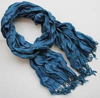 Бесподобный женский весенний жатый шарф 200 на 70 dress Р1411_сизый