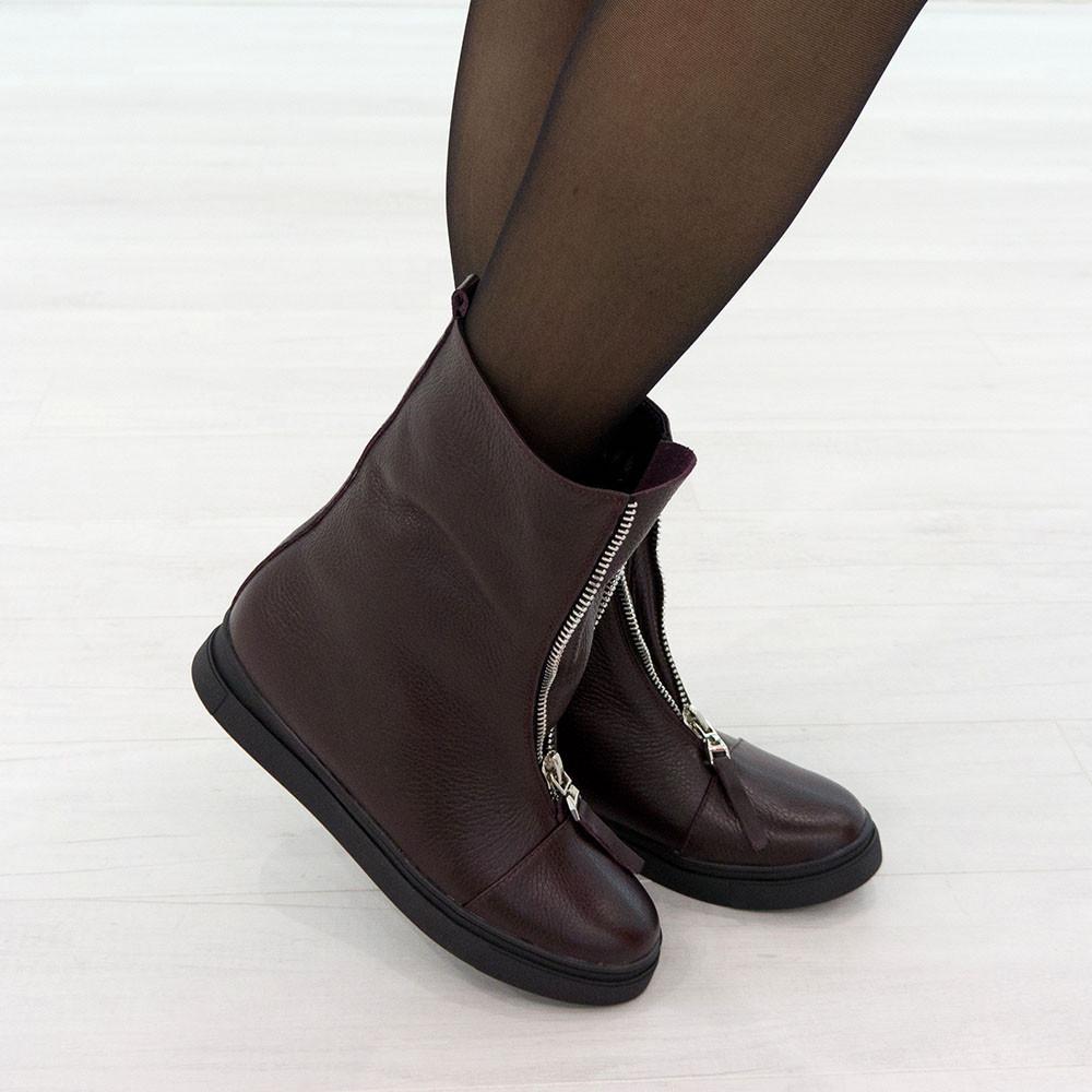 Ботинки из натуральной кожи с мехом бордовый