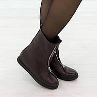 Ботинки из натуральной кожи с мехом бордовый, фото 1