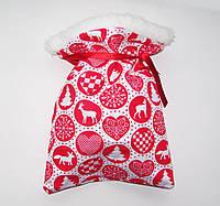 Новогодний БОЛЬШОЙ 39*51см Рождественный мешочек для подарков красный с рисунком