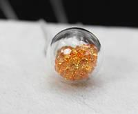 Подвеска Шар с кристаллами/бижутерия/ цвет оранжевый