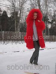 "Куртка-парка ""Scarlett"" с ламой красного цвета"