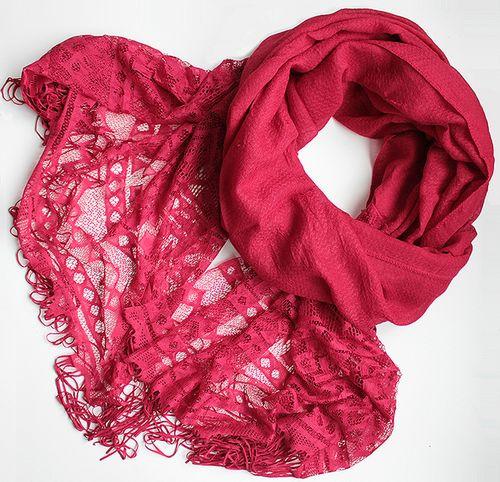 Жіночий шарфик з ажурним краєм 200 на 85 dress РС3316_вишня