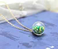 Подвеска Шар звезды/бижутерия/ цвет  зеленый