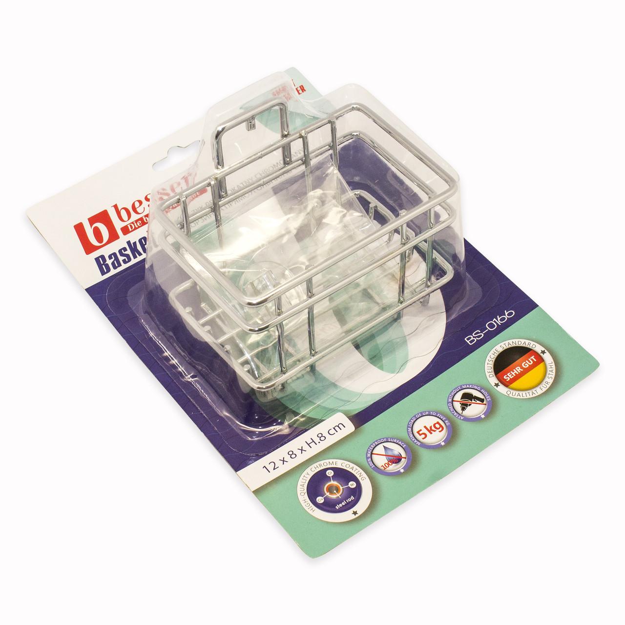 """Корзинка для ванной Besser прямоугольная 12х8х10см с креплением """"SMART STICKER"""" KM-0166"""