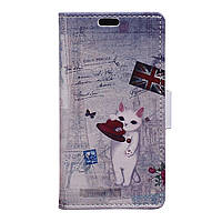 Чехол книжка для Meizu U20 боковой с отсеком для визиток, English cat