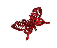 """Декоративное украшение """"Бабочка"""" 14*2.5*9см красная на клипсе"""