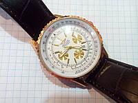 Мужские часы Breitling A27362 (2151192) золотистые с белым циферблатом на черном ремешке с календарем