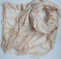 Женский шарфик с ажурным краем 200 на 85 dress РС3316_молочн