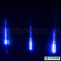 Светодиодная гирлянда Падающая капля (тающая сосулька), 8шт*50см, 3,7м 384 LED, ПВХ Синий
