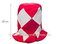 """Шапка """"Цилиндр"""" красно-белая, h20см, в пакете (150шт/ящ)"""