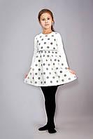 Детское нарядное платье-сарафан из фактурной ткани, на 3-8 лет, в горошек