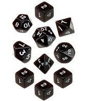 Набор кубиков d00, d4, 4хd6, d8, d10, d12, d20 (чёрный)  (Dice Set Opaque (10))