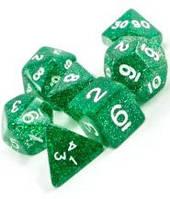 Набор кубиков Блеск d00, d4, d6, d8, d10, d12, d20 (зелёный)  (Dice Set Glitter Green )
