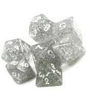 Набор кубиков Блеск d00, d4, d6, d8, d10, d12, d20 (серебряный)  (Dice Set Glitter Gray)