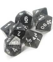 Набор кубиков Блеск d00, d4, d6, d8, d10, d12, d20 (черный)  (Dice Set Glitter Black )